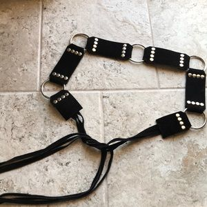 Leather black Fringe suede belt